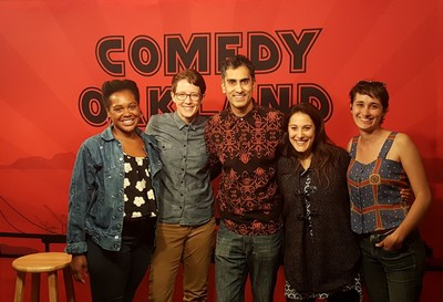 Group of friends with Comedy Oakland founder Samson Koletkar